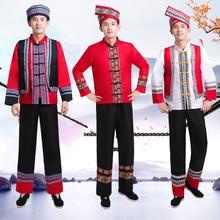 新广西fk族少数民族fm男云南苗族彝族舞蹈服葫芦丝演出服装男