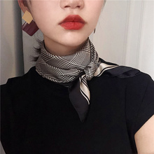 [fksk]复古千鸟格小方巾女薄丝巾
