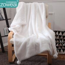 兔兔绒fk毯被子冬季sk暖法兰珊瑚绒单的午睡休(小)沙发毯盖毯子