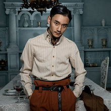 SOAfkIN英伦风sk式衬衫男 Vintage古着西装绅士高级感条纹衬衣