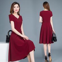 中年妈fl连衣裙洋气hh女装夏装(小)个子雪纺35―40岁女遮肚裙子
