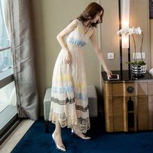 超仙气fl蕾丝长裙2to女夏季新式性感名媛长式裙子显瘦法式连衣裙
