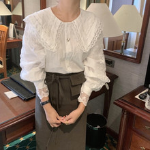 长袖娃fl领衬衫女2ts春秋新式宽松花边袖蕾丝拼接衬衣纯色打底衫