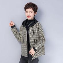 10冬fl新式棉衣4ar妈装格子短外套女中老年宽松棉袄拉链夹克