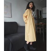 自制莫fl迪奶黄色港yy文艺长式宽松慵懒衬衫中长式连衣裙