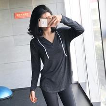 大码宽fn纯棉运动上bc速干健身长袖瑜伽服t恤跑步连帽衫春夏