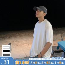 ONEfnAX夏装新ld韩款纯色短袖T恤男潮流港风ins宽松情侣圆领TEE