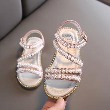 女童珍fo0凉鞋20uo款软底露趾水钻公主鞋韩款中大童时尚沙滩鞋