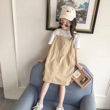 女童背fo裙夏季20at式中大童洋气时髦无袖吊带裙宝宝夏装连衣裙