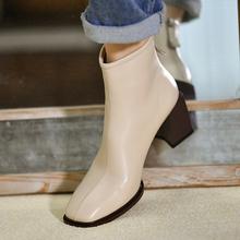 皮厚先fo 米白色羊ll方头短靴女 2020秋季新式及踝靴高跟女靴