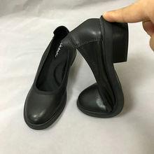 真皮厚底工作鞋女黑色(小)皮鞋平底职fo13单鞋空is正装乐福鞋