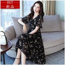 。20fo0时尚新式ex纺连衣裙秋季短袖中年妈妈新式妇女的