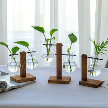 创意木架水培fo3瓶客厅办sa绿萝植物透明玻璃花器(小)容器摆件