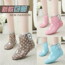秋冬雨fo加绒胶鞋女sa套鞋低帮果冻学生短筒雨靴时尚防滑水靴