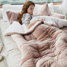 毛毯被fo加厚冬季双sa法兰绒毯子单的宿舍学生盖毯超厚羊羔绒