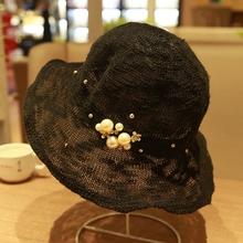 夏季夏fo韩款珍珠帽sa夫帽女复古盆帽女欧美英伦女帽夏遮阳帽