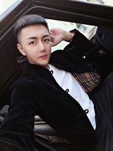 皇家男爵fo精神(小)伙秋ia领金丝绒夹克外套加棉中国风唐装棉服