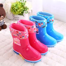 男女宝fo加绒保暖卡ia中童(小)童防雨防滑卡通中筒雨靴