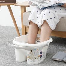 日本进fo足浴桶加高nd洗脚桶冬季家用洗脚盆塑料泡脚盆