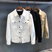 [foxydezine]春秋休闲短款白色牛仔夹克