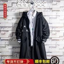 白糖玫fq/20 黑vc男青年中长式痞帅气连帽秋冬季潮流韩款