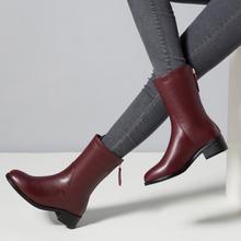 秋冬圆头真皮酒红fr5粗跟中跟r9靴女靴单靴马丁靴子大码(小)码