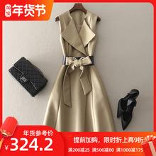 中长式fr身连衣裙欧as高端时装礼服裙子2021春装新式气质女装