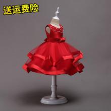 202fr女童缎面公nc主持的蓬蓬裙花童礼服裙手工串珠女孩表演服