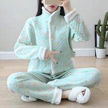 孕妇保fr睡衣产妇哺ak三层棉孕期新式秋冬加厚棉空气层月子服