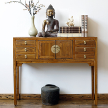 实木玄fr桌门厅隔断es榆木条案供台简约现代家具新中式