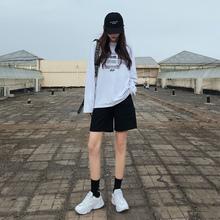 工装短fr女夏季薄式sh020年新式中裤直筒港味ins潮5运动五分裤