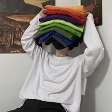 INSfrtudiosh0韩国ins复古基础式纯色春秋打底衫内搭男女长袖T恤