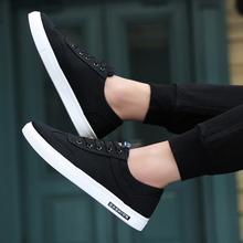 202fr新式春季男sh款潮流百搭潮鞋低帮帆布休闲鞋黑色布鞋板鞋