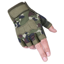 战术半fr手套男女式ts种兵迷彩短指户外运动骑行健身