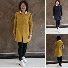 韫yun正品新式娃娃领双排扣加绒保fr14韩款Ata式女棉衣外套