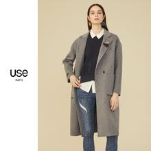 双面呢羊毛大衣fs4USE2ot冬装驼色中长式工作服大衣毛呢外套OL
