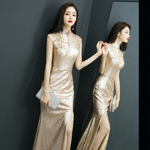 高端晚fs服女202pf宴会气质名媛高贵主持的长式金色鱼尾连衣裙