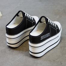 内增高(小)白鞋女2021新款fu10秋季1ti一脚蹬高跟拖鞋
