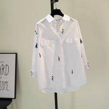 刺绣卡fu棉麻白色衬ti021春季新式韩范文艺宽松休闲衬衣上衣潮