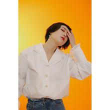 杨二大梦原创法款少女复古衬衫量感fu13皱拼接ti白衬衫女