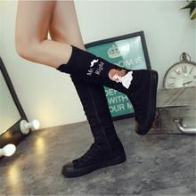 秋季新fu长筒帆布鞋ti色高筒侧拉链休闲靴子高帮平底涂鸦鞋子