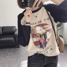 减龄式fu通猫咪宽松co厚弹力打底衫插肩袖长袖T恤女式秋冬X