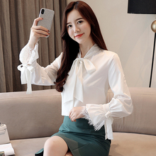 白衬衫fu2020秋co蝴蝶结长袖雪纺衫韩范宽松蕾丝打底加绒上衣