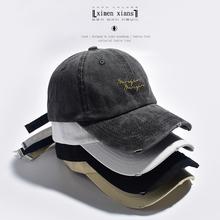 帽子女fu古水洗做旧ny球帽韩款chic英文刺绣街头软顶鸭舌帽男