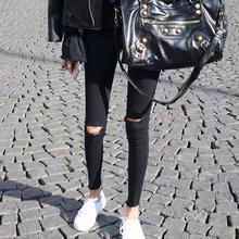 春季2fu021年新ny仔裤女九分韩款春式高腰显瘦紧身黑色(小)脚裤