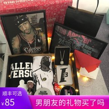 艾佛森fu衣手办纪念ny海报手环送篮球男生的生日礼物实用个性