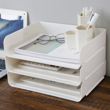 办公室fu联文件资料pw栏盘夹三层架分层桌面收纳盒多层框