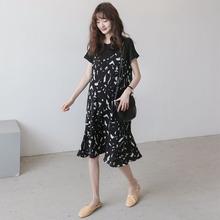 孕妇连fu裙夏装新式qu花色假两件套韩款雪纺裙潮妈夏天中长式