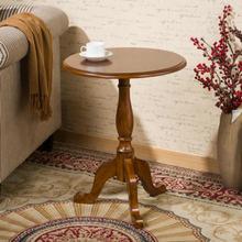 实木小圆桌美式沙发边桌欧