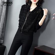 黑色雪纺印花棒球服外fu7女202et式休闲长袖上衣薄式防晒开衫